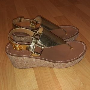 Tory Burch perforated gold strap wedge sandal 9.5